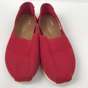 EUC Toms Red Espadrilles, slip on shoes.